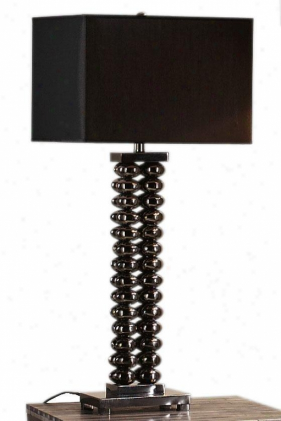 """contempo 14""""w Table Lamp - 31""""hx14""""w, Dark Chrome"""