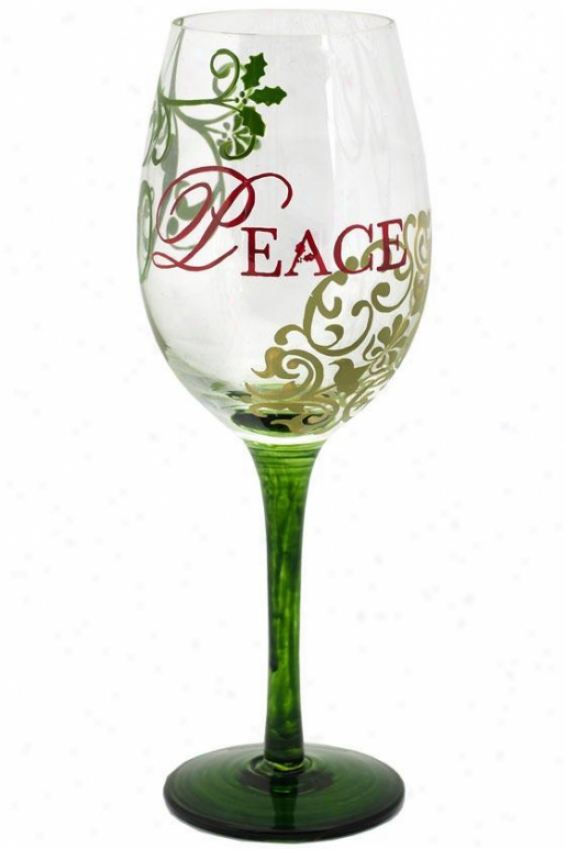 Contemporary Hand-painted Wine Glass - 12 Oz, Peace