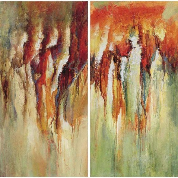 Contemporary Rain Canvas Wall Art - Set Of 2 - Set, Autmun