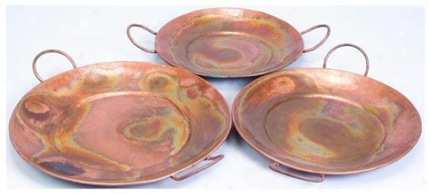 """copely Copper Waiter - Set Of 3 - Setof3/28""""25""""24, Copper"""