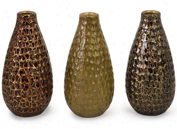 Cora Crackle Vases - Set Of 3 - Set Of 3, Earthtones