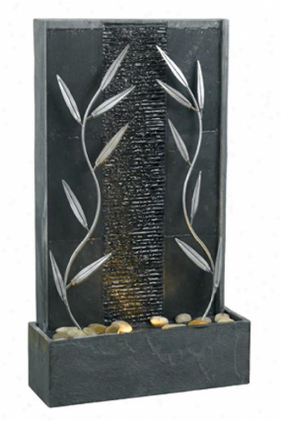"""courtyqrd Floor Fountain - 33""""hx19""""wx6""""d, Ntrl Gray Slaye"""