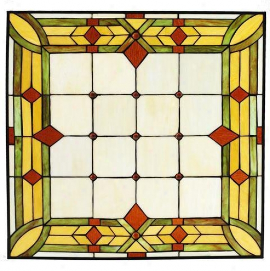 """craftsman 24"""" Square Tiffany-style Stained Art Glass Window Array - 24"""" Square, Green"""