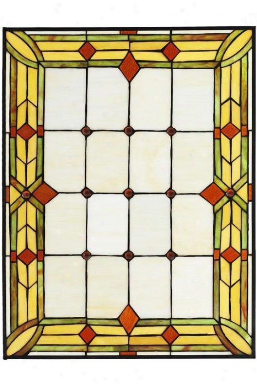 """""""craftsma n4""""""""w Rectangle Tiffany-style Stained Art Glass Window Panel - Rectngl 18x24, Green"""""""