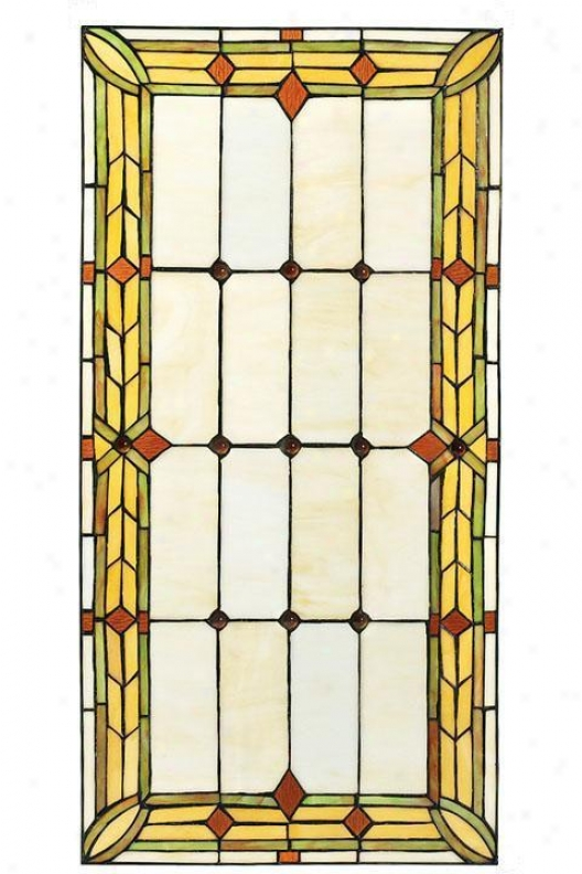 """Artisan 30""""w Rectangle Tiffany-style Stainef Art Glass Window Array - Rectngl 15x30, Green"""