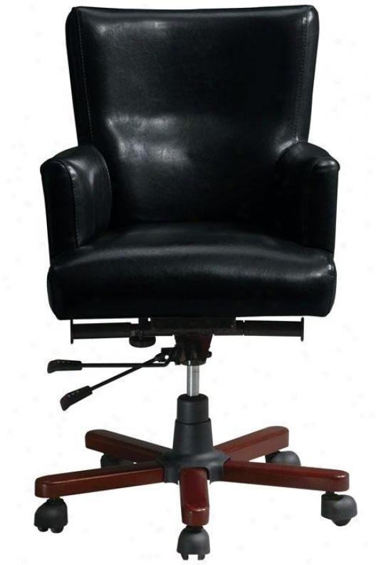 Craftsman Leather Swivel Desk Chair - Black, Brown Oak