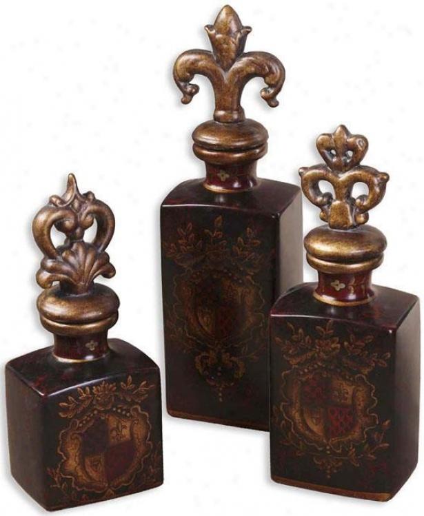 Crest Bottles - Set Of 3 - Set Of 3, Brown