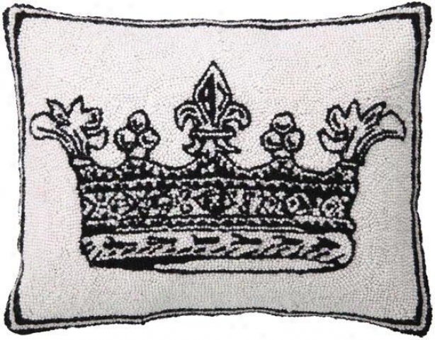 Crown Hand-hooked Pillow - King, White