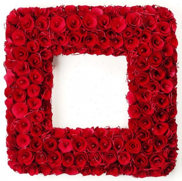 """""""curled Wood 16"""""""" Square Wreath - 2.75hx16.2wx16, Red"""""""
