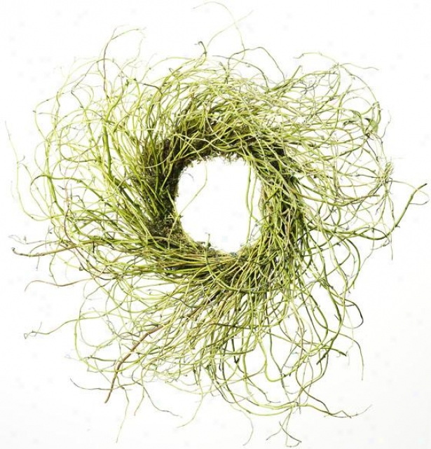 """curly Willow Wreath - 24""""h X 24""""w, Ivory"""
