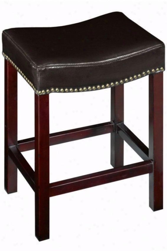 """curved Nailhead Counter Stool - 24""""h Counter, Brown"""