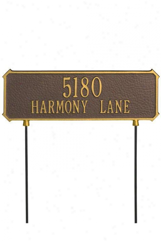 Cut Corner Two-line Two-sided Lawn Address Plaque - Cut Cornr/2 Lin, Copper