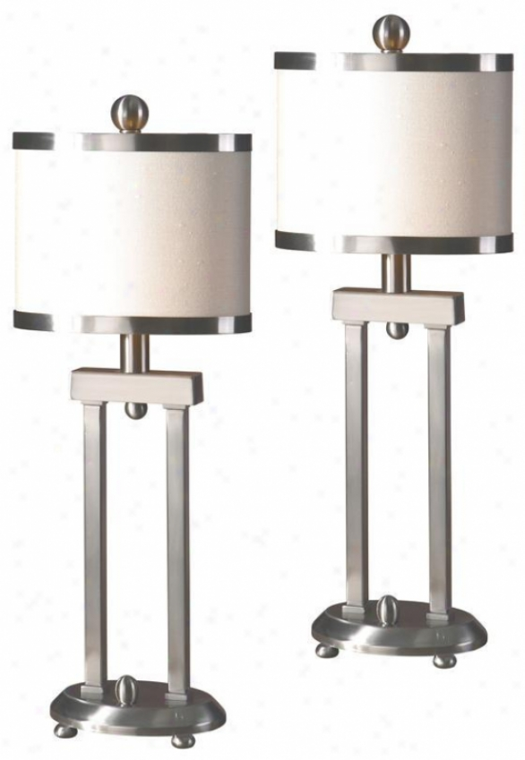 """cyndel Accent Lamps - Set Of 2 - 21""""hx5""""w, Silcer"""