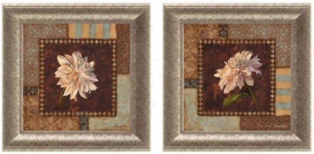 Dahlia Framed Wall Art - Set Of 2 - Set Of Two, Brown