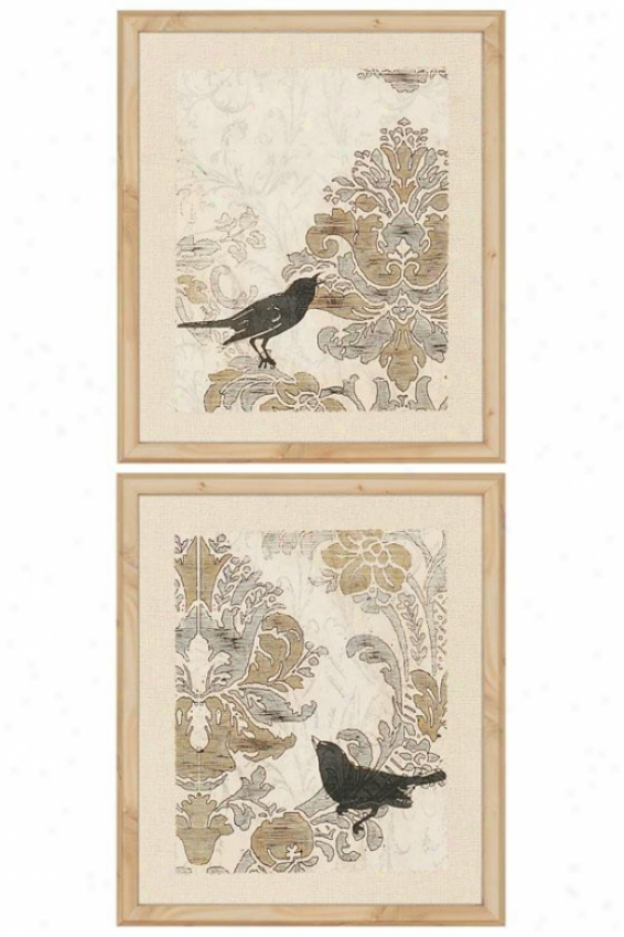 Damask Songbirds Wali Art - Set Of 2 - Set Of 2, Ivory