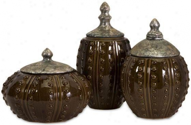 Darcy Hobnail Canisters - Set Of 3 - Set Of 3, Brown