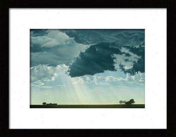 """dark Cloud Framed Wall Art - 27""""hx36""""w, Mated Black"""