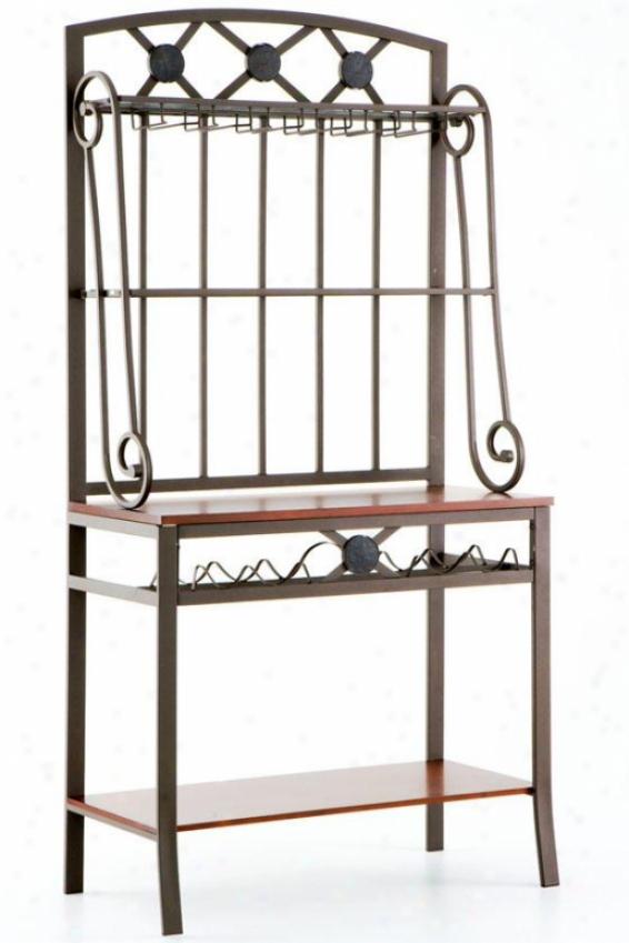 Decorative Baker's Rack With Wine Storage - 67.75hx31.25w, Coffee Brown