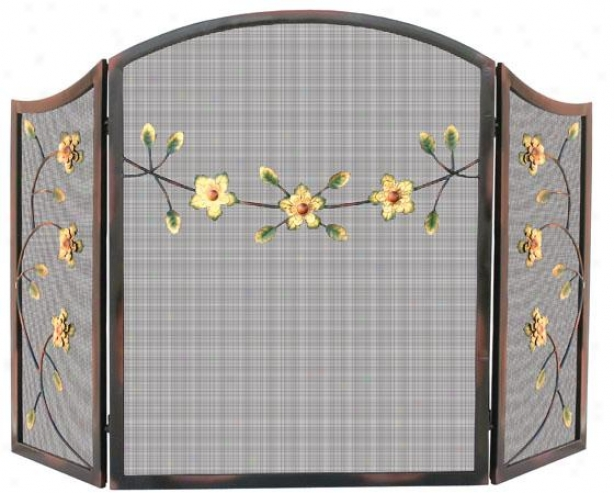 """decorative Flower Fireplace Screen - 35""""hx54""""wx2""""d, Burnished Brnz"""