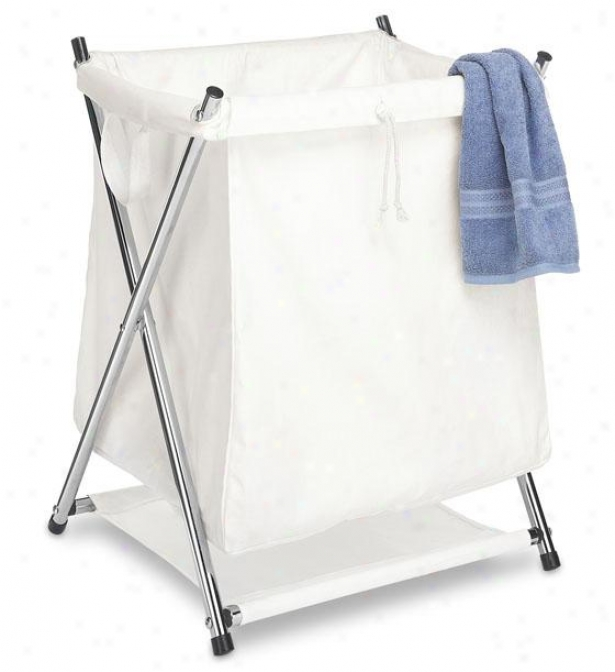 """deluxe Folding Clothes Laundry Hamper - 23""""hx20""""wx18""""d, White"""