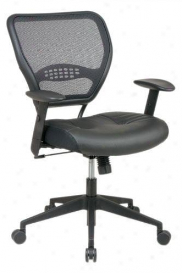 """deluxe Task Chair With Leather Seat - 42""""hx27""""w, Brown"""