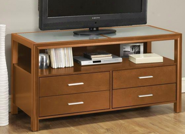 Denmark Wide-screen Tv Stand - 4-drawer, Mustard Yellow
