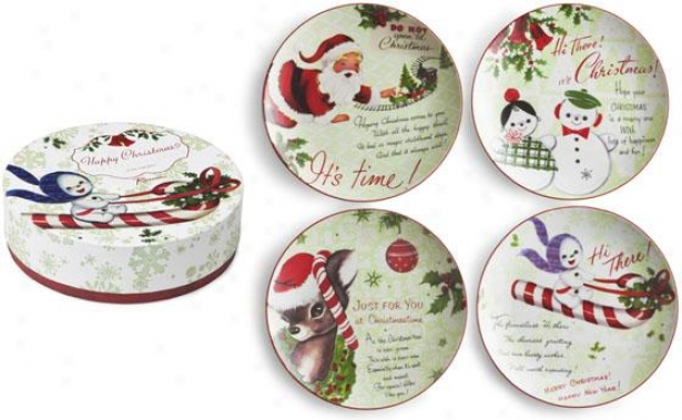 """dessert Plates - Set Of 4 - 8"""" Round, Holiday"""