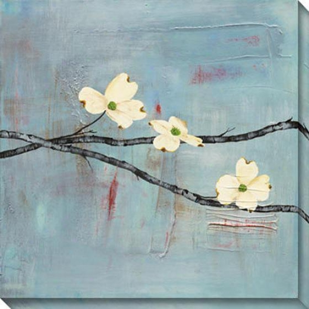 Dogwood On Blue Ii Canvas Wall Art - Ii, Blue