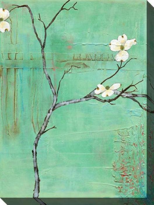 Dogwood On Turquoise Iii Canvas Wall Art - Iii, Turquoise