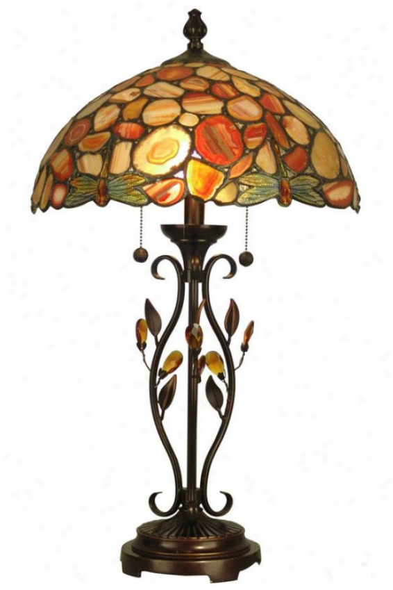 """dragonfly Agate 2-light Table Lamp - 27h X 16.25""""d, Antq Goldn Gravel"""