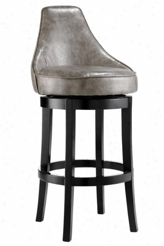 """draper Swivel  Bar Stool - 44""""hx20.5""""w, Txtrd Lthr Grey"""