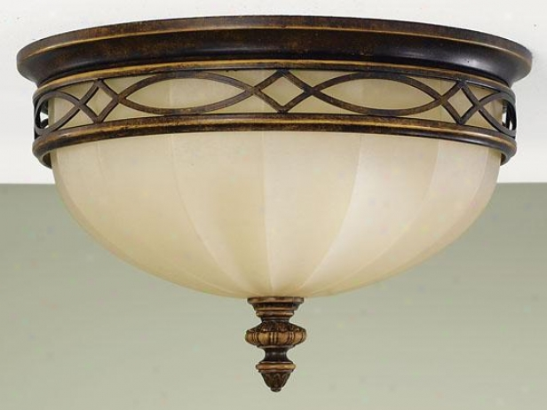 """drawign Room Flush Mount - 9""""h X 14""""w, Brown Wood"""