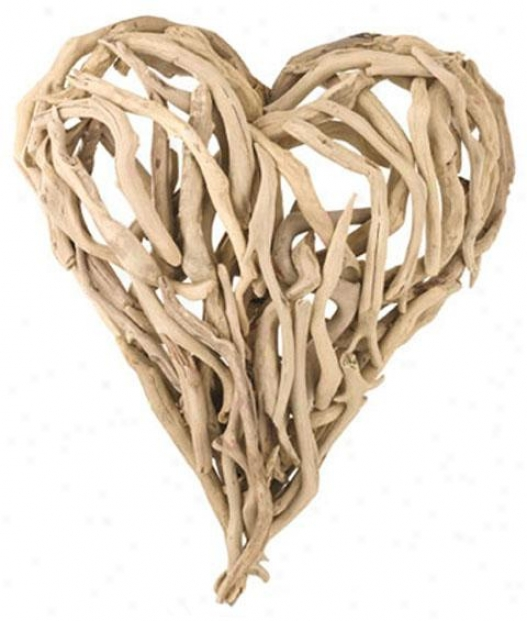 """driftwood Heart Wall Art - 16 X 16"""", Ivory"""