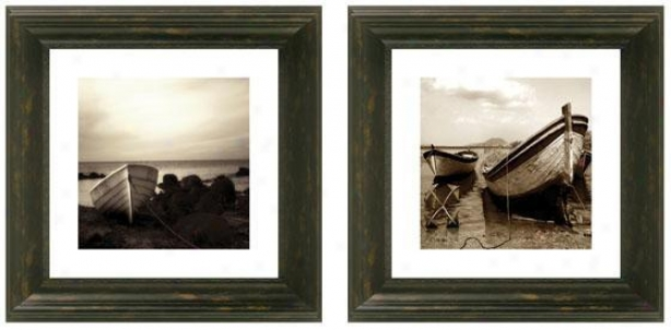 Dry Ashore Framed Wall Art - Set Of 2 - Set Of Two, Black