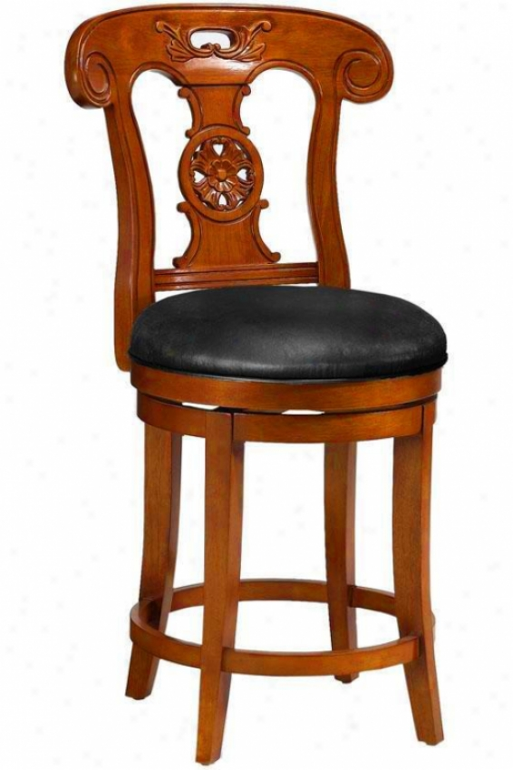 Dubois Hand-carved Counter Stool - Black Leather, Brick Red