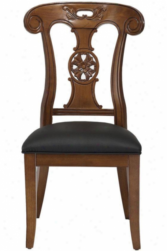 Dubois Hand-carved Side Chair - Black L3ather, Brick Red