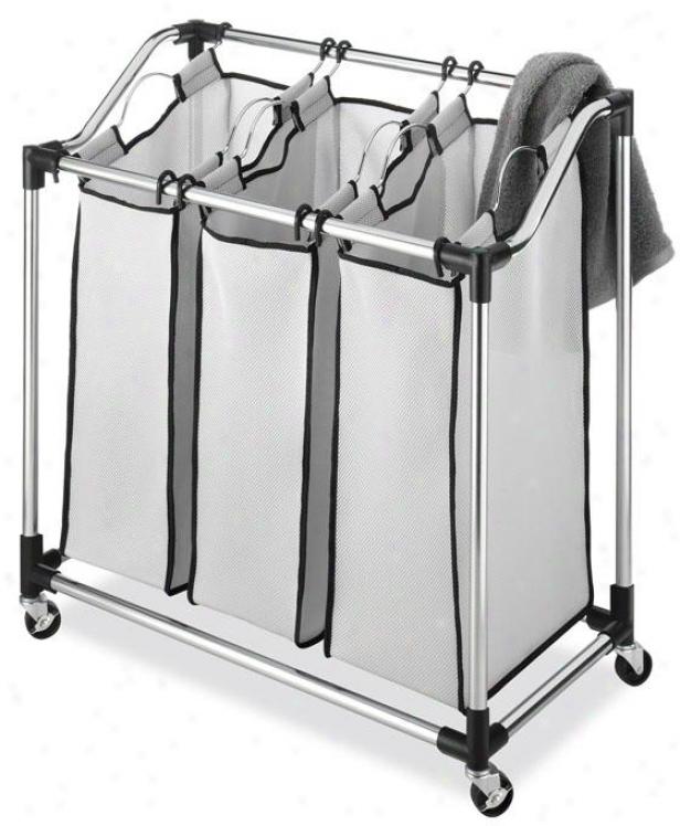 """durable Chrome Laundry Sorter - 33""""hx31""""wx16""""d, Silver Chrome"""