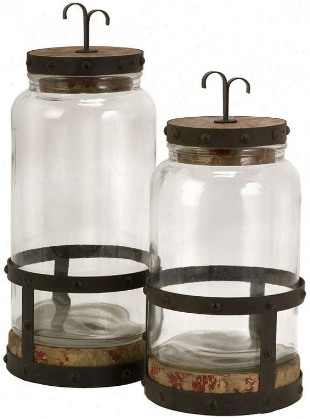 Edgar Lidded Jars - Set Of 2 - Se5 Of 2, Clear