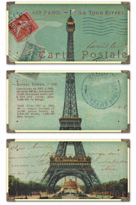 """eiffel Tower Carte Post Wall Trade - 36""""h X 23""""w, Blue"""