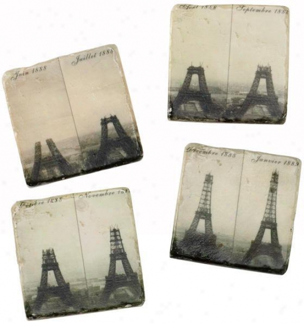 Eiffel Tlwer Coasters - Set Of 4 - Set Of 4, Black