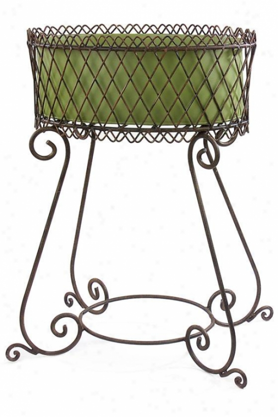 """elba Plant Stand - 34h X25w X17""""d, Green"""