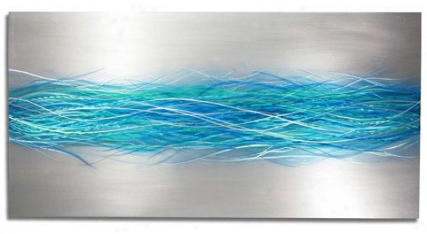 """electric Storm Wall Sculpture - 48""""hx24""""wx1""""d, Blue Silver"""
