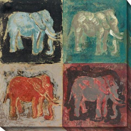 """elephant Canvas Wall Art - 40""""hx40""""w,, Multi"""