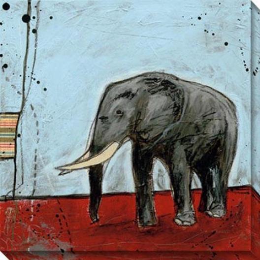 """elephnat Canvas Wall Art I - 40""""gx40""""w, Blue"""