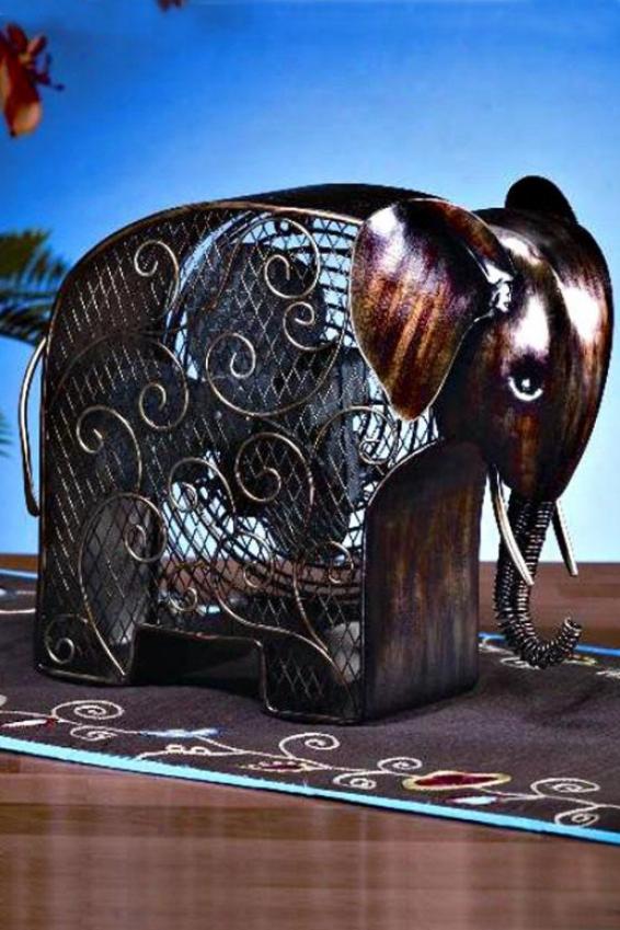 """""""elephant Figurinne Fan - 13h X 8.25""""""""d, Bronze"""""""