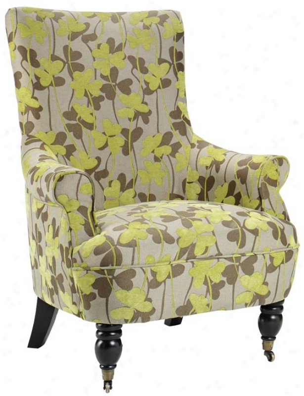 """ella Anterior limb Chair - 41.5""""hx31""""w, Green Flowers"""