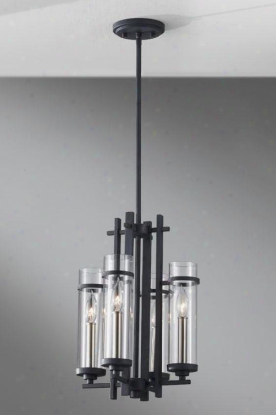Ellis Mini Chandelier - Three Light, Frg Irn/brs Stl