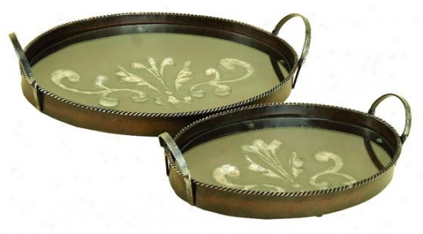 """emille Tray - Set Of 2 - Setof2/28""""&18""""w, Brown &fawn"""