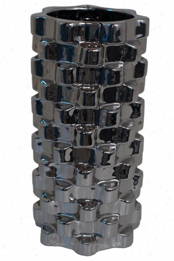 """""""esme Ceramic Vase - 12""""""""h X 5.75""""""""w, Silver"""""""