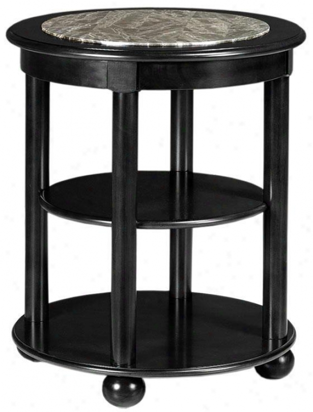 """essex Granite Top Side End Flat - 24""""h, Black"""
